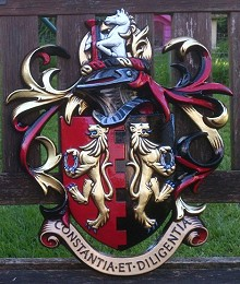 Finished aluminium alloy 'Gates' coat of arms