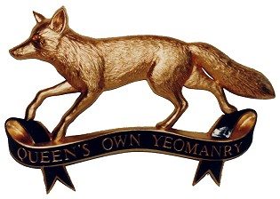 Queen's Own Yeomanry badge in gold leaf finish