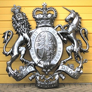 Coat of arms without helmet & mantling, direct chrome finish, 60 inches
