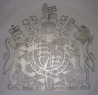 Coat of arms with helmet & mantling, cut-out stainless steel
