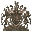 Coat of arms with helmet & mantling, cold cast metal effect, 36 inches