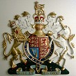 Coat of arms with helmet & mantling, standard hand-painted, 36 inches