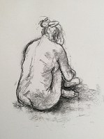 Charcoal Life Drawing 9. Charcoal on paper, 30cm x 25cm, £150.