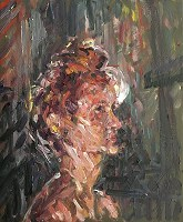 Jane In Front Of Lamp. Oil paint on canvas, 30cm x 24cm, £950.