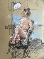 Nude With Lamp. Pastels on paper, 29cm x 20cm, £300.