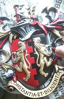 Aluminium coat of arms for gates of racehorse stables.