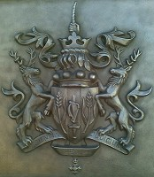 Cast bronze coat of arms. One of a series of coats of arms supplied cast in solid bronze.