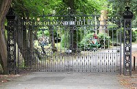Jubilee gates. London Borough of Hillingdon Diamond Jubilee gates with cast aluminium coats of arms and crowns.