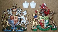 Cast aluminium coats of arms and crowns for Diamond Jubilee gates.