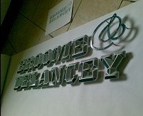 Sculptural sign letters made for Broome & Delancey.