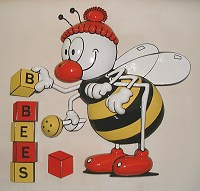 Busy Bees emblem. 30in high sign for Busy Bees nurseries.