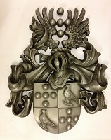 Norwegian client's arms. Private commission coat of arms for client in Norway, 1 metre high, GRP with cold-cast resin/aluminium finish.