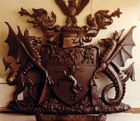 Gwynedd County Council coat of arms, 2.25 metres high, cold-cast resin/bronze finish.