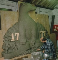 Bryan working on an earlier stage of the creation of the Badger Ales plaque, modelling the original pattern in clay.
