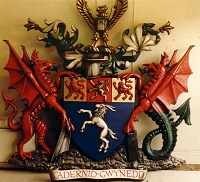 Gwynedd County Council coat of arms, 2.25 metres high, with hand painted finish.