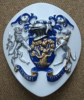 Coat of arms for boat. Made on specially shaped panel for the bows of a boat.