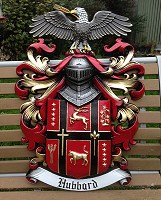 Hubbard coat of arms. Aluminium coat of arms for Hubbard family, USA.