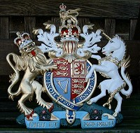 16in standard. GRP British royal coat of arms 16in/40cm high, hand painted (standard).