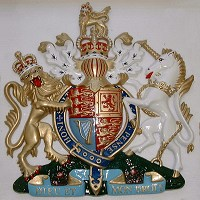 22in royal standard. GRP British royal coat of arms 22in/56cm high, hand painted (standard).