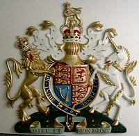 36in royal standard. GRP British royal coat of arms 36in/92cm, hand painted (standard).