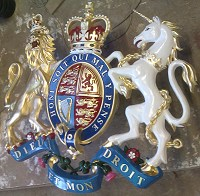 46in royal standard. GRP British royal coat of arms, style 2, 46in/117cm x 52in/132cm, hand painted (standard).