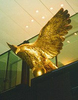 Eagle sculpture, 3 metre wingspan, finished in gold leaf, commissioned by Eagle Star Insurance for their headquarters in St Mary Axe, London.