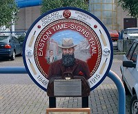 W G Grace plaque. Relief modelled and painted plaque of the famous cricket player.
